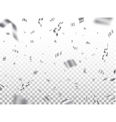 silver confetti isolated on transparent background vector image