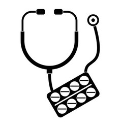 stethoscope pills icon simple style vector image