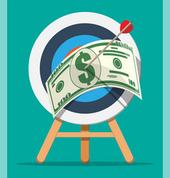 target with arrow and dollar banknote vector image