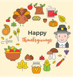 Thanksgiving icon arrange as circle shape and vector