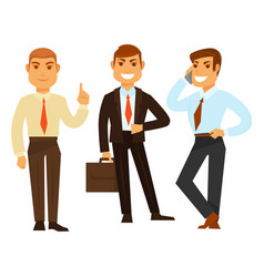 Three businessmen in good mood while working on vector