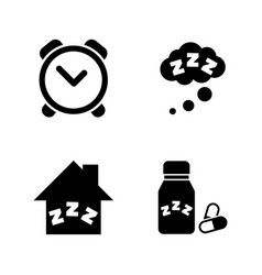 Time to sleep hypnotic simple related icons vector
