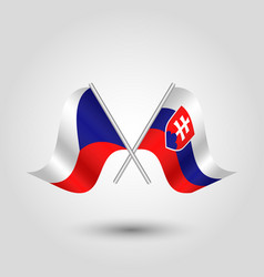 two crossed czech and slovak flags vector image