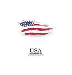 usa flag in grunge style on a gray background vector image
