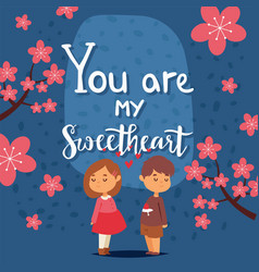 Valentine day card with typography text you are my vector