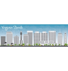 Virginia Beach Skyline with Gray Buildings vector image