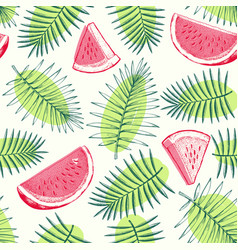 watermelon and tropical leaves seamless pattern vector image