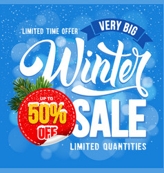 Winter sale advertise design vector