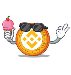 With ice cream binance coin character catoon vector