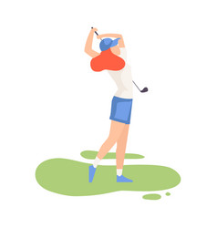 young woman swinging with golf club female vector image
