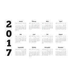 2017 year simple calendar on german language vector image vector image