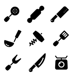 black kitchen and cooking icons set vector image