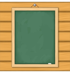 Blackboard on wooden wall vector image vector image