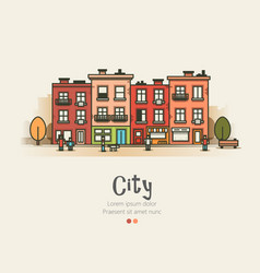Flat design modern urban landscape and city life vector