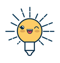 light bulb cartoon smiley vector image vector image