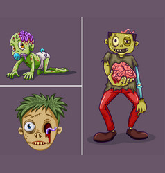 three zombies on gray background vector image vector image