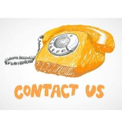 Vintage phone sketch vector image