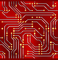 computer microchip seamless pattern on red vector image