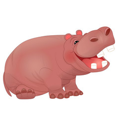 Cute laughing hippopotamus vector