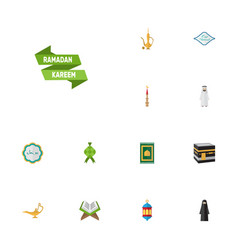 flat icons islamic lamp mecca muslim woman and vector image vector image