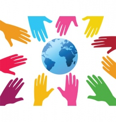 hands and globe background vector image vector image