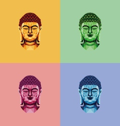Low poly Buddha face vector image