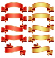 red and golden banners set vector image vector image