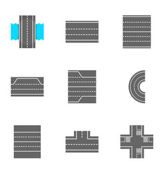 roads icons set cartoon style vector image vector image
