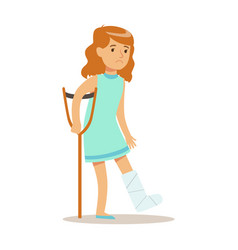 sick kid with cast on leg feeling unwell suffering vector image