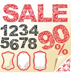 Word SALE numerals and letters are made of floral vector image vector image