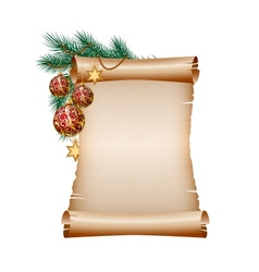 Christmas blank scroll paper on white background vector image