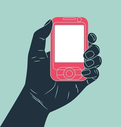 hand holding cell phone vector image vector image