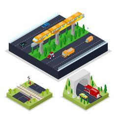 isometric urban road with modern railway vector image
