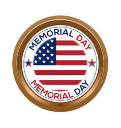 memorial day button isolated on white background vector image vector image