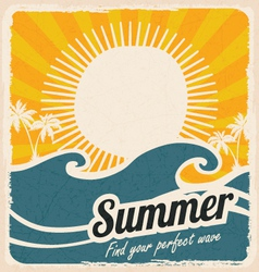 Retro summer holiday poster with sea and waves vector image