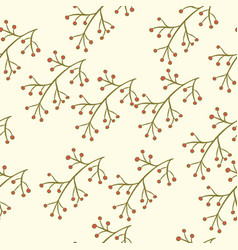 seamless berry branch pattern vector image vector image
