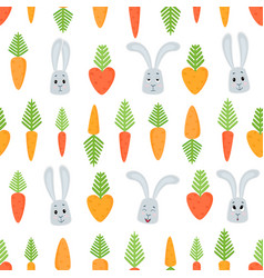 seamless pattern with cartoon rabbits and vector image vector image