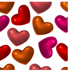 seamless pattern with red glass hearts vector image