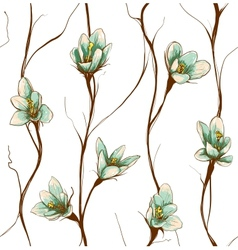 Vintage Flowers Seamless Pattern Background vector image
