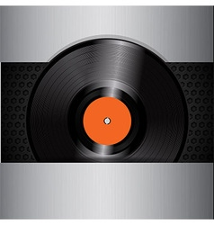 vinyl record on brushed metallic background vector image vector image