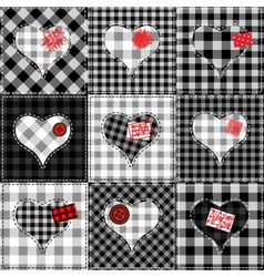 Checkered quilt with hearts vector image