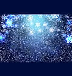 christmas snowflakes on blue background vector image
