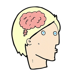 comic cartoon man with brain symbol vector image vector image
