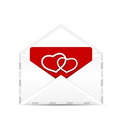 Open envelope with valentine postcard vector image vector image