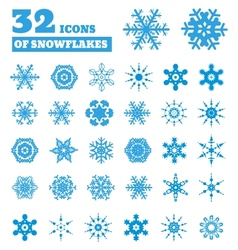 Snowflakes A set of 32 icons vector image vector image