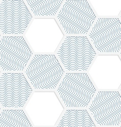 White 3D with colors hexagonal grid with blue vector image vector image