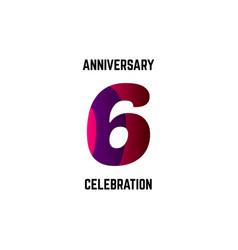 6 year anniversary celebration logo template vector