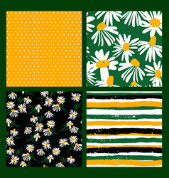 abstract floral seamless patterns with chamomile vector image