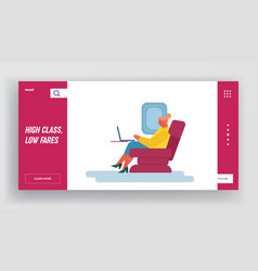 airplane traveling website landing page young vector image