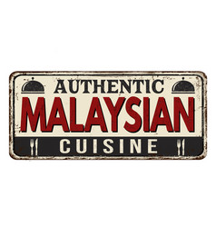 authentic malaysian cuisine vintage rusty metal vector image